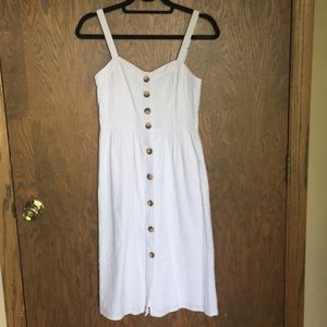 Abercrombie NWT white midi button up dress size XS
